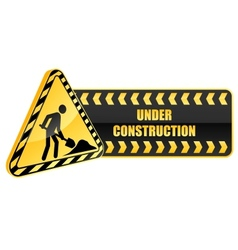 Under construction icon and warning sign vector image