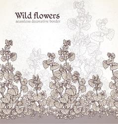 Wild flowers field seamless decorative border vector image vector image