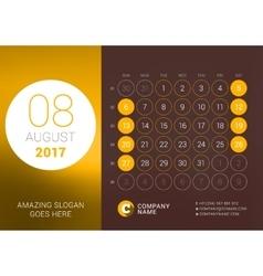 August 2017 Desk Calendar for 2017 Year vector image