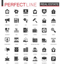 black classic real estate icons set for web vector image vector image