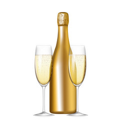 bottle and glasses vector image vector image