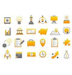 Business yellow gray strategy icons set vector image