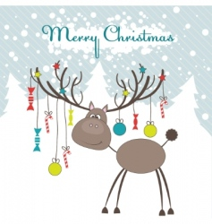 Christmas reindeer illustration vector image vector image