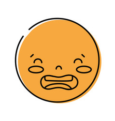 Color kawaii head with cute disgusted face vector