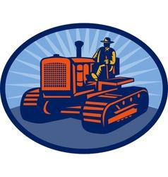 Farmer driving vintage tractor vector image