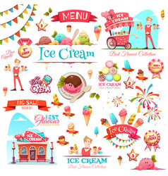 Ice cream set with banner icons and vector image vector image