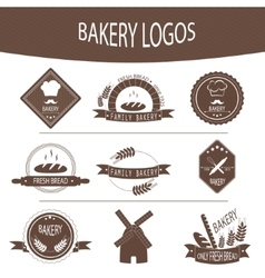 Set of bakery logos labels badges vector image