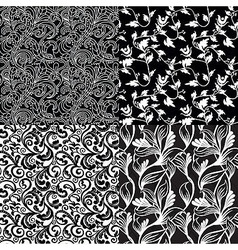 set of black and white floral seamless patterns - vector image vector image