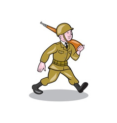 World War Two Soldier American Cartoon Isolated vector image vector image