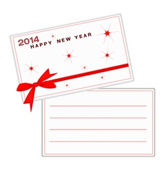 2014 Happy New Year Cards with Red Ribbon vector image