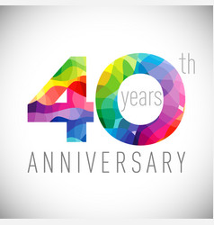 40 th anniversary facet years multicolored vector
