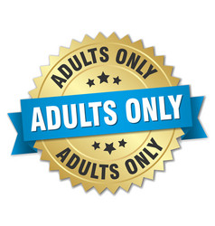 Adults only round isolated gold badge vector