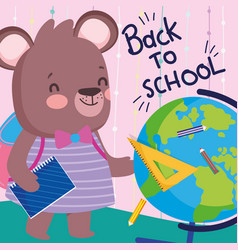 back to school cute female bear with bakcpack book vector image