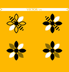 bees flower logos collection vector image