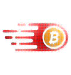 bitcoin halftone dotted icon with fast rush effect vector image