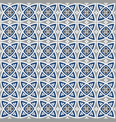 Blue seamless geometrical tiles patterns vector