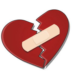 broken heart is glued together with a plaster vector image