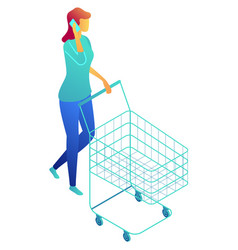businesswoman walking with shopping cart and vector image