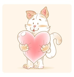 Card with smiling toy cat holding heart vector image