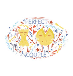 Cheese and pasta perfect couple vector