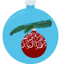 christmas tree branch with red ball isolated on vector image