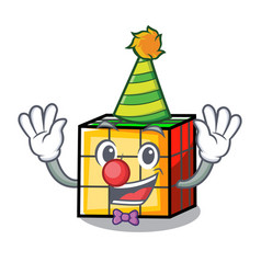 Clown rubik cube mascot cartoon vector