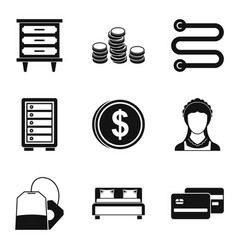 Coaching inn icons set simple style vector