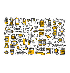 coffee color black white doodle big set coffee to vector image