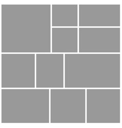 Collage eleven frames photos parts or pictures vector