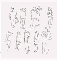 collection of people taking pictures with photo vector image