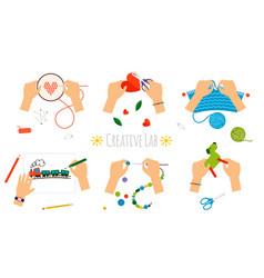 Creative hands handmade icons vector