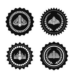 crowns on royal seals monochrome set vector image