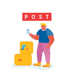 customer visiting post office male character vector image