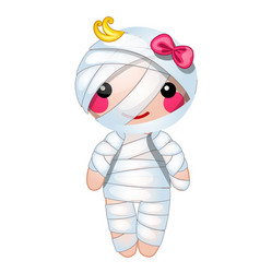 Cute doll in the form of a mummy wrapped vector