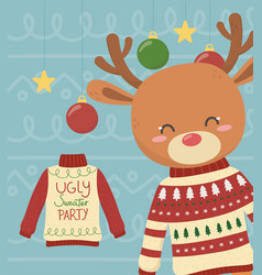 Cute reindeer christmas ugly sweater party vector