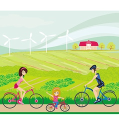 Cycling on a sunny day vector