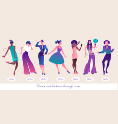 dance and fashion through time set seven women vector image