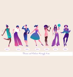 Dance and fashion through time set seven women vector