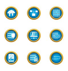Data stronghold icons set flat style vector