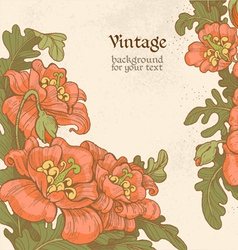 Decorative vintage frame with red poppies vector