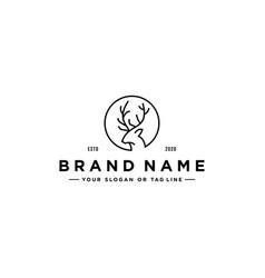 Deer line art logo design vector