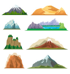 different mountain isolated set vector image