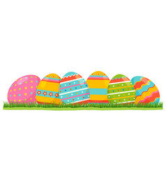 easter colored eggs with pattern on green grass vector image