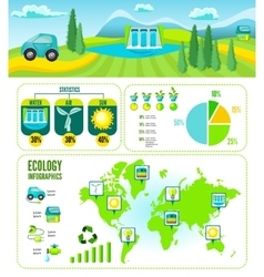 Eco Cartoon Infographic Template vector image