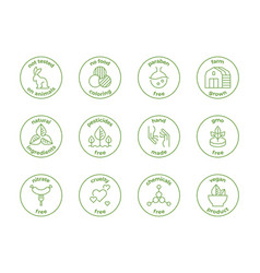 Eco line badge natural organic logos paraben vector