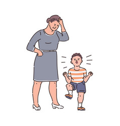 Family conflict - child throwing tantrum at tired vector