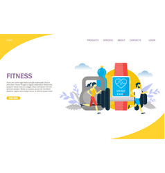 Fitness website landing page design vector