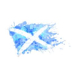 flag scotland made colorful splashes vector image