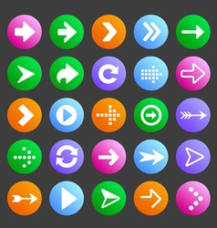 Flat and round arrow icons vector