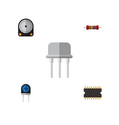 flat icon technology set of microprocessor vector image